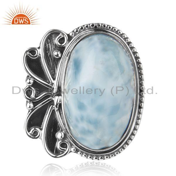 Exporter Natural Larimar Gemstone Oxidized 925 Silver Cocktail Ring Manufacturer India