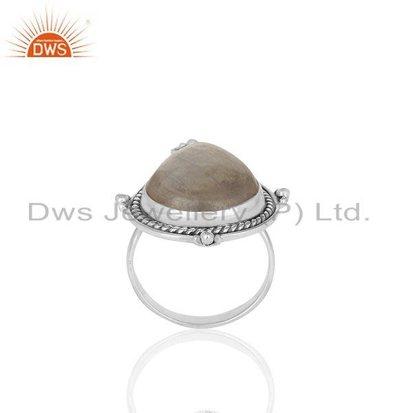 Exporter Natural Rainbow Moonstone Oxidized 925 Sterling Silver Cocktail Ring Supplier
