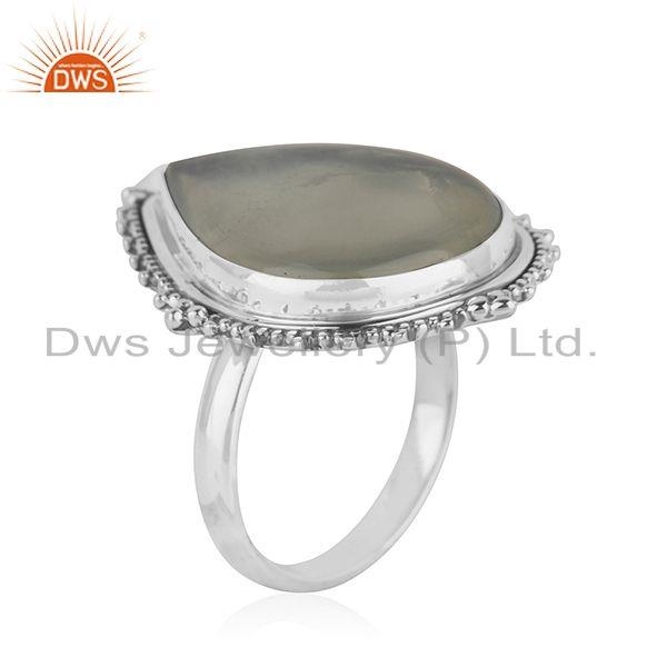 Exporter Oxidized Sterling Silver Prehnite Gemstone Ring Jewelry