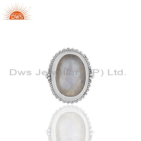Exporter Bezel Set Rainbow Moonstone Oxidized Solid 925 Silver Cocktail Rings Supplier