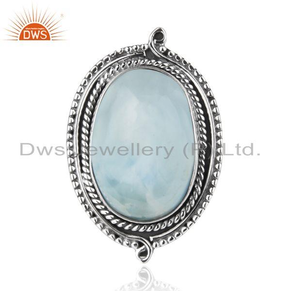 Exporter Larimar Gemstone Oxidized 925 Sterling Silver Cocktail Ring Manufacturer India