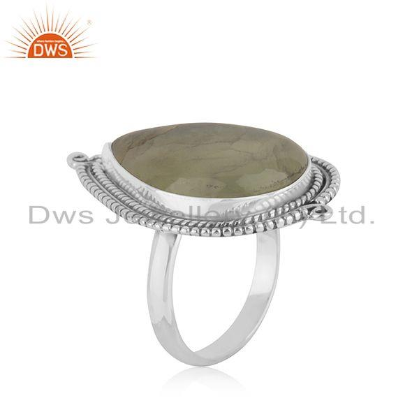 Exporter Prehnite Stone Sterling Silver Oxidized Ring Jewelry