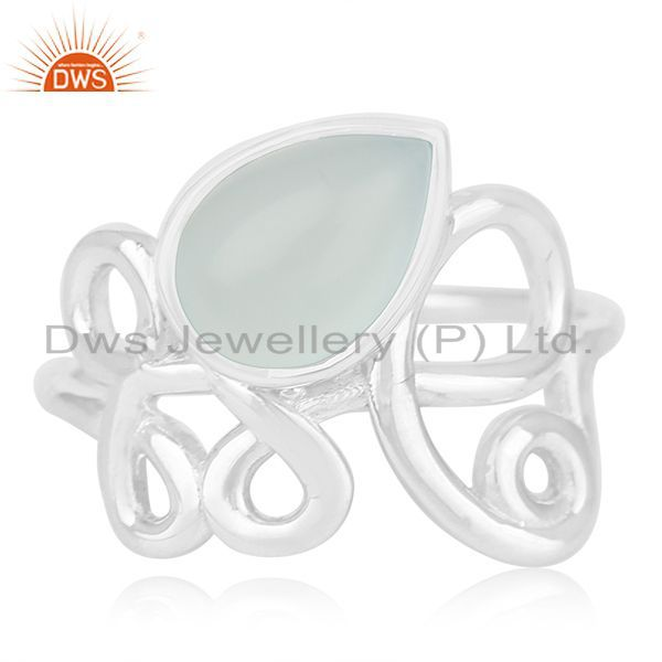 Exporter New Arrival Aqua Chalcedony Gemstone 925 Silver Ring Manufacturers
