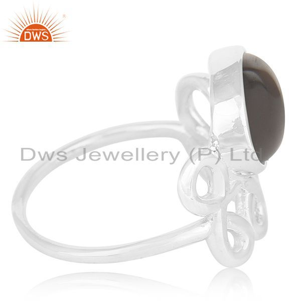 Exporter Smoky Quartz 925 Sterling Silver Designer Girls Ring Suppliers India