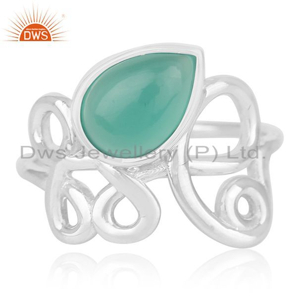 Exporter White Rhodium Plated 925 Silver Onyx Gemstone Ring Manufacturer