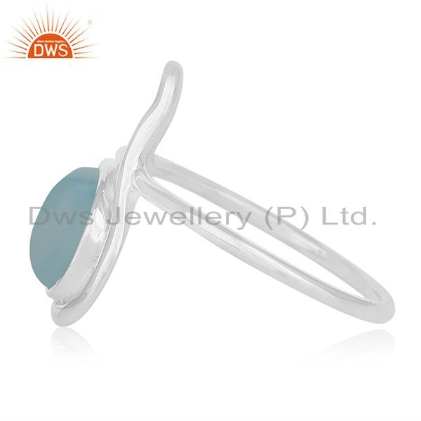 Exporter Aqua Chalcedony Gemstone White Rhodium Plated Silver Ring Supplier