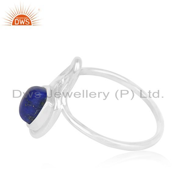 Exporter Lapis Lazuli Gemstone White Rhodium Plated 925 Silver Ring Jewelry