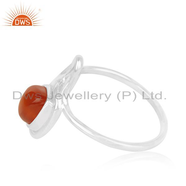 Exporter 925 Silver White Rhodium Plated Chalcedony Gemstone Ring Wholesale