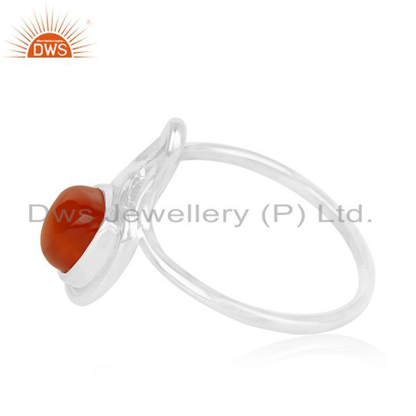 Exporter Red Onyx Gemstone White Rhodium Plated 925 Silver Ring Suppliers