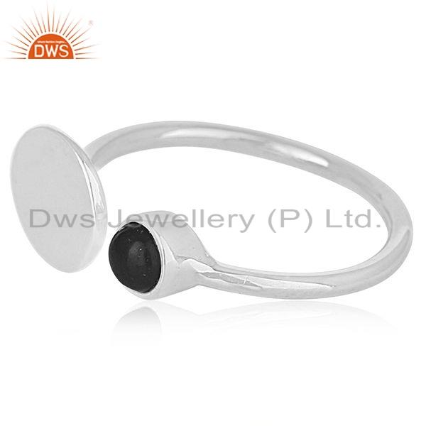 Exporter Womens Sterling Fine Silver Natural Black Onyx Gemstone Ring Jewelry