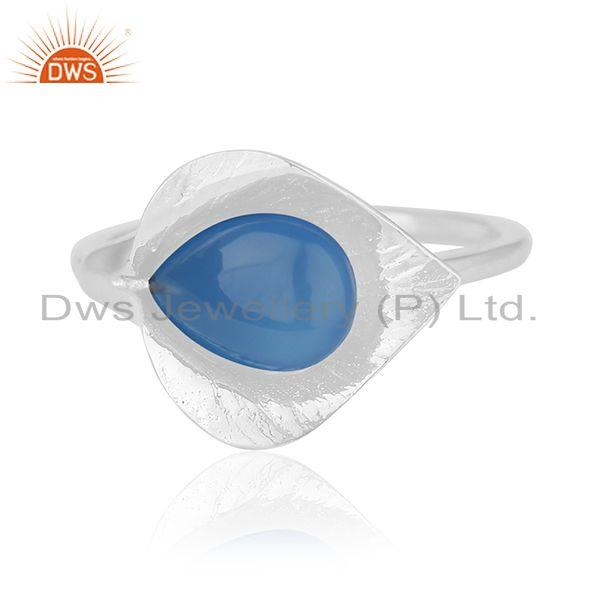 Exporter Blue Chalcedony Gemstone Floral Design Sterling Silver Custom Ring Wholesale