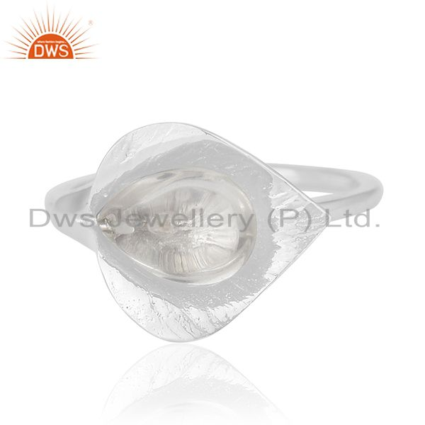 Exporter Sterling Silver Floral Design Crystal Custom Ring Jewelry Manufacturer Wholesale