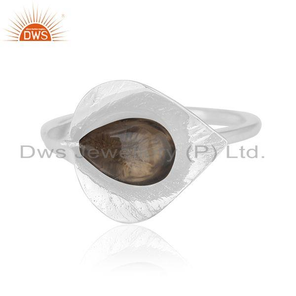 Exporter Smoky Quartz Floral Design 925 Silver Private Label Ring Jewelry Manufacturer