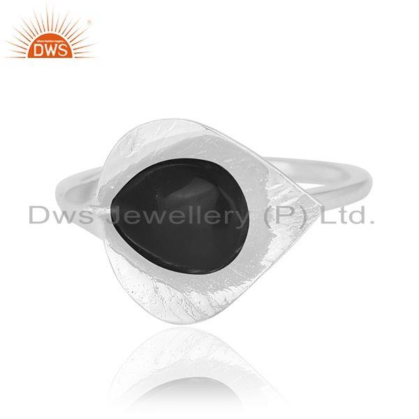 Exporter Black Onyx Gemstone 925 Silver Floral Design Ring Wholesale Suppliers