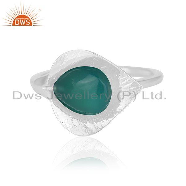 Exporter Designer 925 Silver Green Onyx Gemstone Private Label Ring Jewelry Wholesale