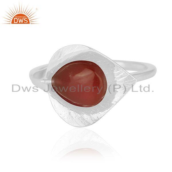 Exporter Red Onyx Gemstone New Designer Sterling Silver Ring Wholesale Suppliers