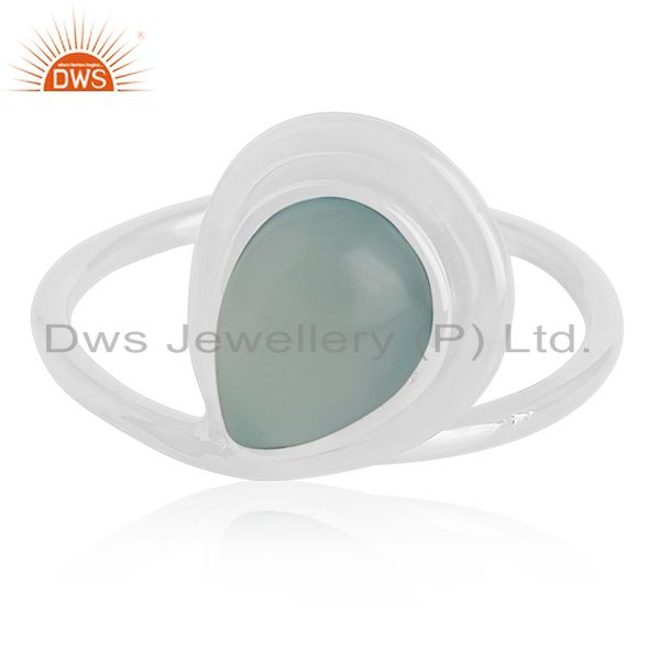 Exporter Designer Sterling Silver Blue Chalcedony Gemstone Girls Ring Manufacturer India