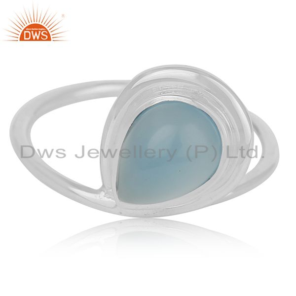 Exporter Blue Chalcedony Gemstone Sterling Silver Designer Ring Jewerly Wholesale