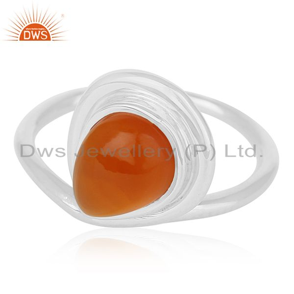 Exporter Carnelian Chalcedony Gemstone Sterling Silver Custom Ring Manufacturer for Brand