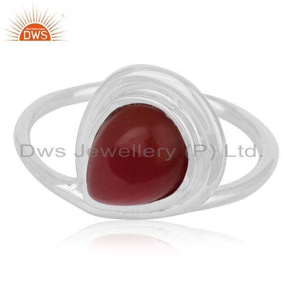 Exporter Red Onyx Gemstone Sterling Silver Ring Private Label Jewelry For Brands