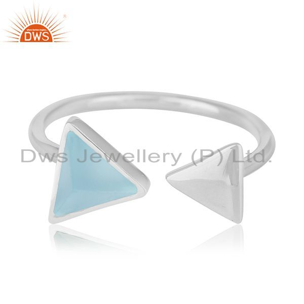 Exporter Blue Chalcedony Gemstone 925 Silver Adjustable Ring Manufacturer