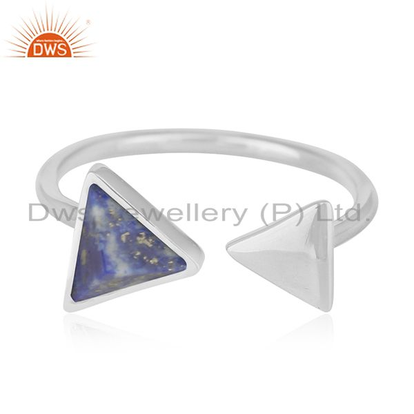 Exporter Lapis Lazuli Gemstone 925 Silver Adjustable Ring Jewelry Supplier