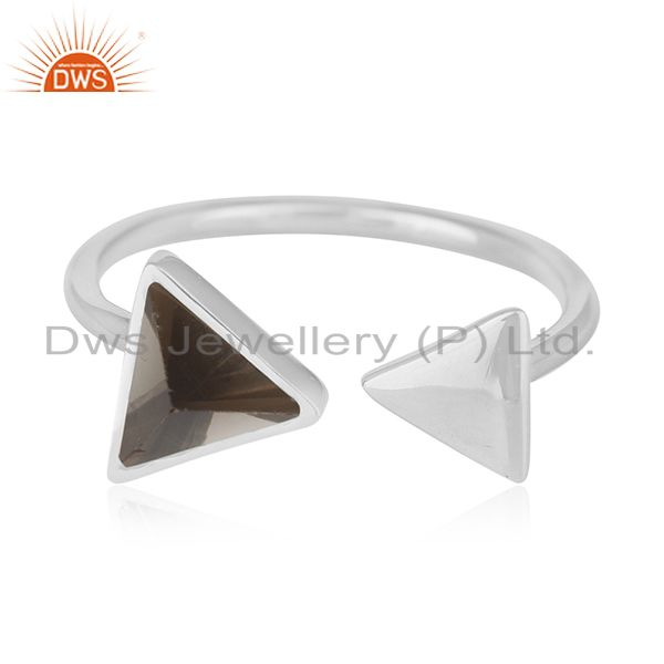 Exporter Triangle Shape Smoky Quartz 925 Sterling Silver Gemstone Adjustable Ring Jewelry
