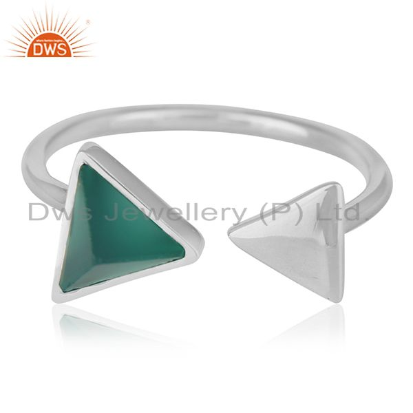 Exporter Adjustable 925 Silver Green Onyx Gemstone Ring Jewelry Manufacturer