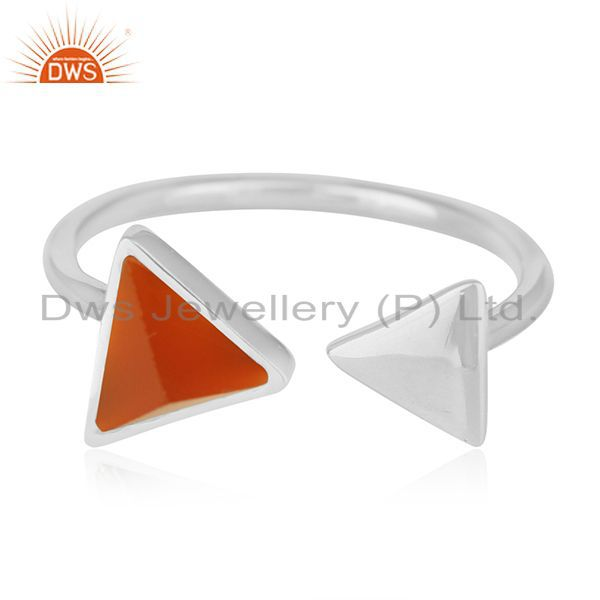Exporter 925 Sterling Silver Red Onyx Gemstone Triangle Ring Manufacturer of Jewellery