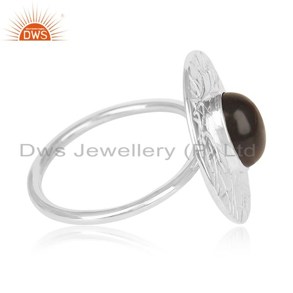 Exporter Designer 925 Sterling Silver Smoky Quartz Cocktail Ring For Womens