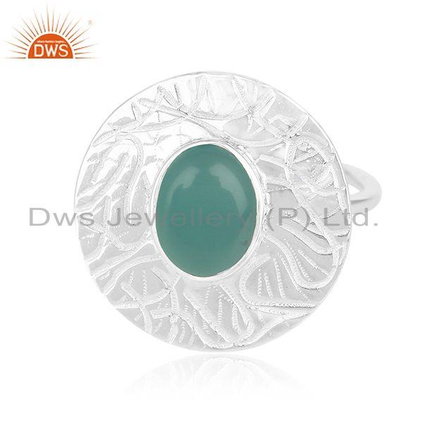 Exporter Green Onyx Gemstone 925 Silver Handmade Cocktail Ring Manufacturers