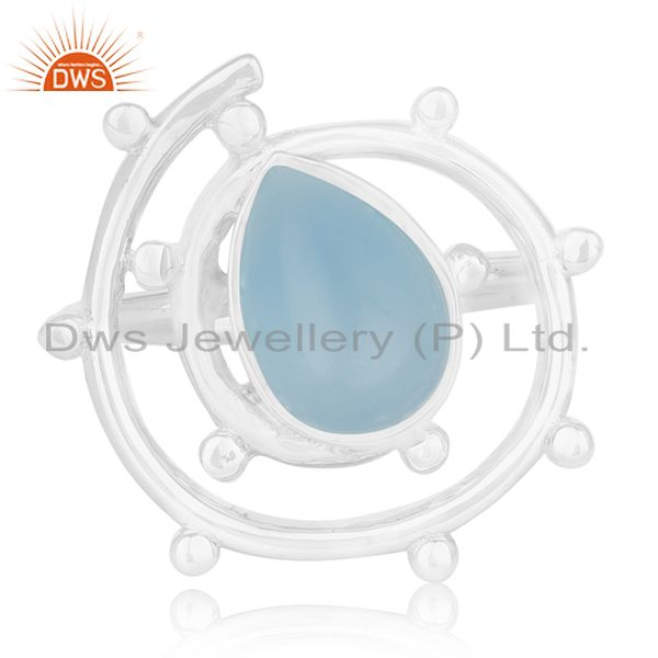 Exporter New Arrival 925 Silver Blue Chalcedony Gemtone Cocktail Ring Wholesale
