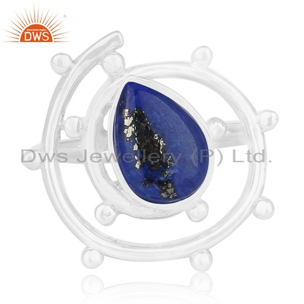 Exporter Lapis Lazuli Gemstone Sterling Silver Cocktail Ring Manufacturer of Jewellery