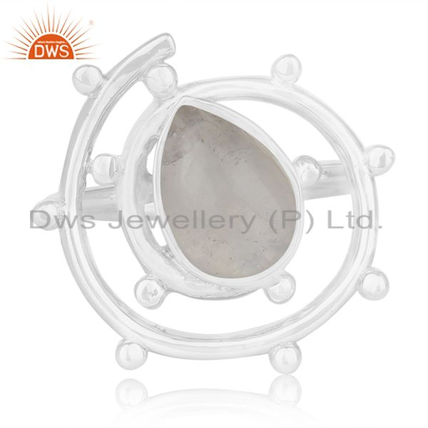 Exporter Rainbow Moonstone Sterling Silver Designer Cocktail Ring Wholesale Suppliers