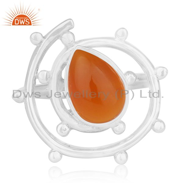 Exporter Chalcedony Gemstone Designer 925 Sterling Silver Ring Manufacturers India