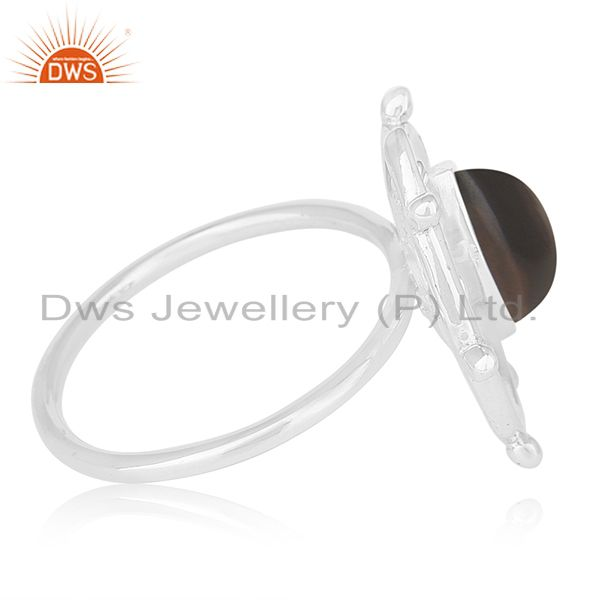 Exporter Smoky Quartz Gemstone 925 Sterling Silver Cocktail Ring Manufacturer from Jaipur