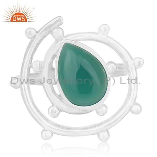 Exporter Green Onyx Gemstone 925 Sterling Silver Indian Handmade Ring Manufacturer