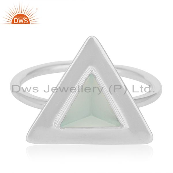Exporter Customized Triangle Shape Sterling Silver Gemstone Ring Manufacturer from India