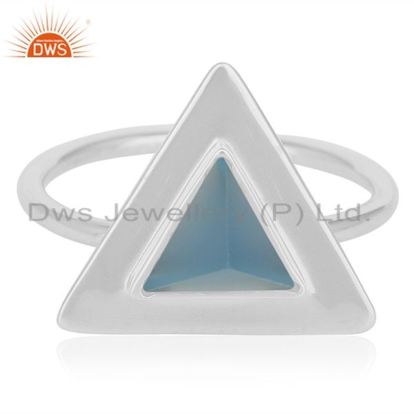 Exporter Blue Chalcedony Gemstone Triangle Shape Sterling Silver Custom Ring Manufacturer