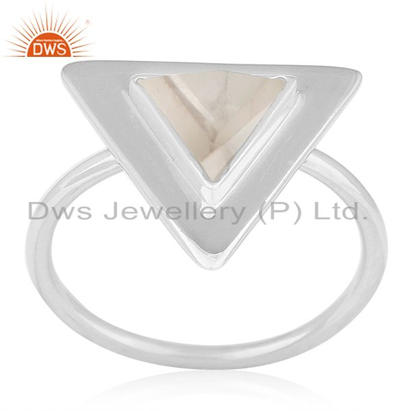 Exporter Clear Crystal Quartz Triangle Design 925 Silver Ring Jewelry
