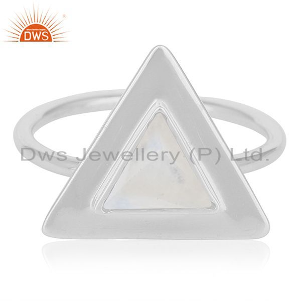 Exporter Rainbow Moonstone Sterling Silver Triangle Custom Ring Manufacturer
