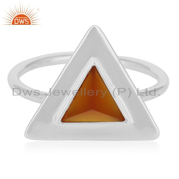 Exporter Carnilian Chalcedony Gemstone 925 Silver Triangle Ring Wholesale
