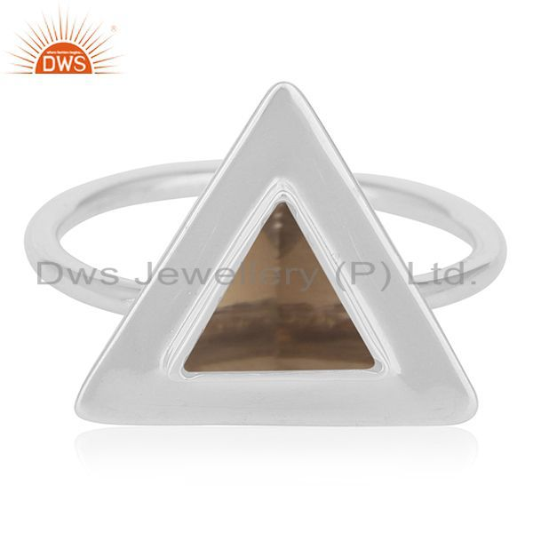 Exporter Triangle Shape 925 Silver Smoky Quartz Ring Custom Ring Suppliers