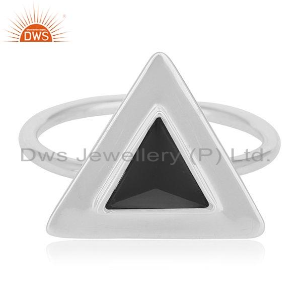 Exporter Natural Black Onyx Gemstone Triangle Design 925 Silver Ring Jewelry