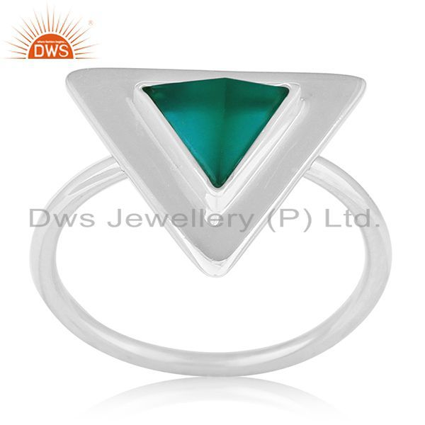 Exporter Green Onyx Bezel Set Gemstone 92.5 Silver Ring Jewelry Manufacturer