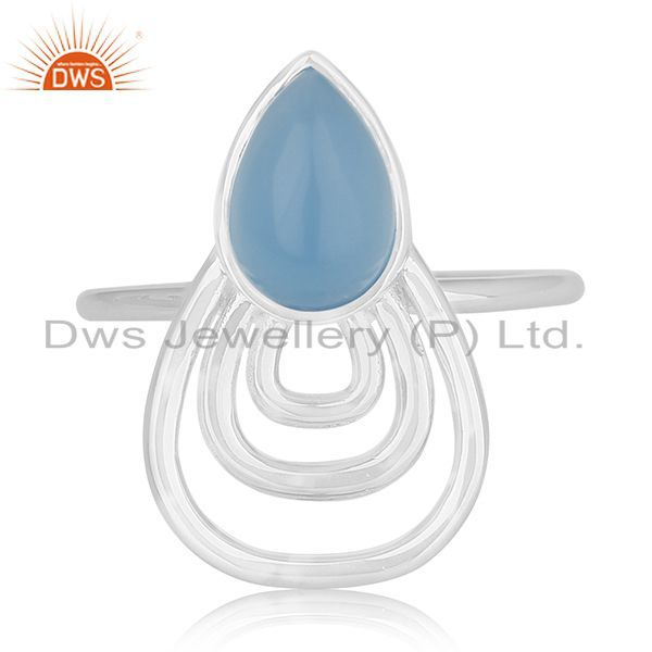Exporter Blue Chalcedony Gemstone 925 Silver Ring Wholesale Supplier India