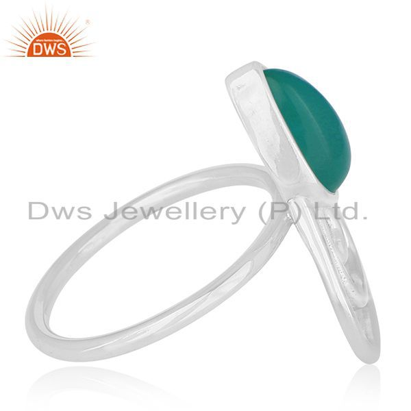 Exporter Green Onyx Gemstone 925 Sterling Silver Private Label Ring Wholesale