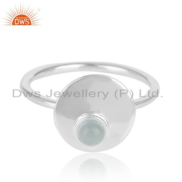 Exporter Simple Design 925 Sterling Silver Chalcedony Gemstone Ring Wholesale