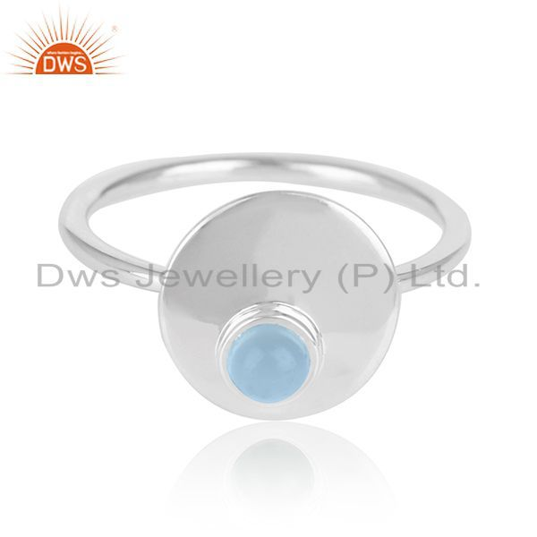 Exporter 92.5 Silver White Rhodium Plated Blue Chalcedony Gemstone Simple Ring
