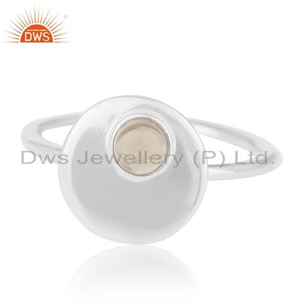 Exporter Bezel Set Gemstone 925 Silver Handmade Quartz Ring Wholesale Supplier from India
